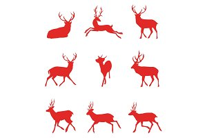 Red silhouettes of deer. Vector illustration.