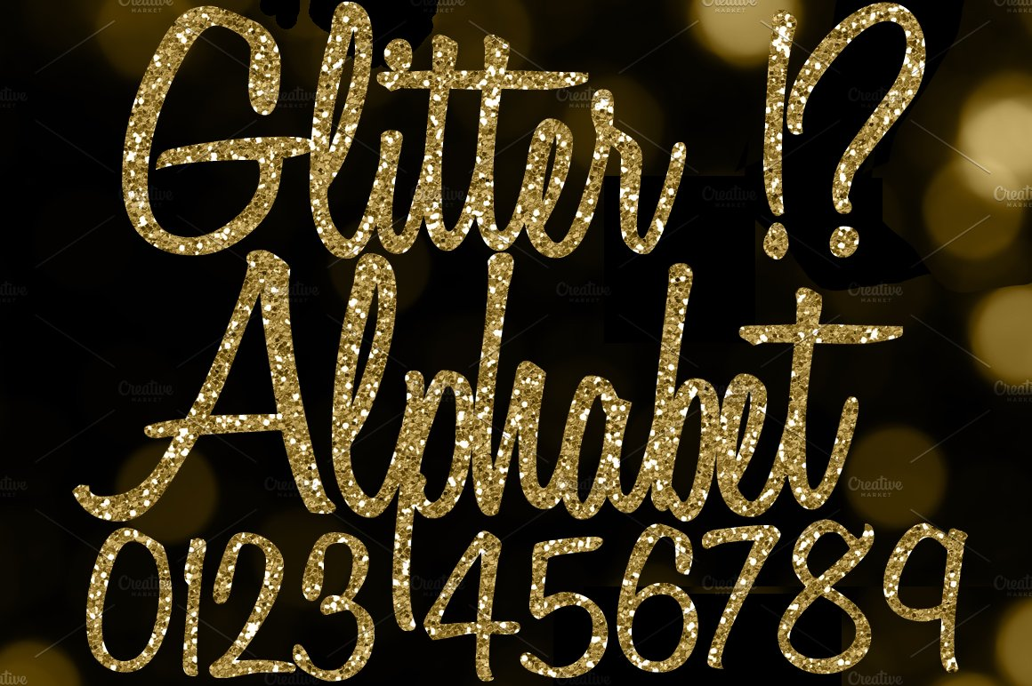 Gold Glitter Letters Gold Alphabet Objects Creative Market