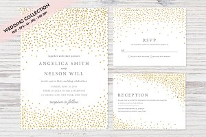 Gold Confetti Wedding Invitation Set