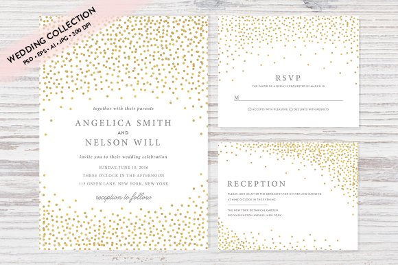 gold confetti wedding invitation set invitation templates
