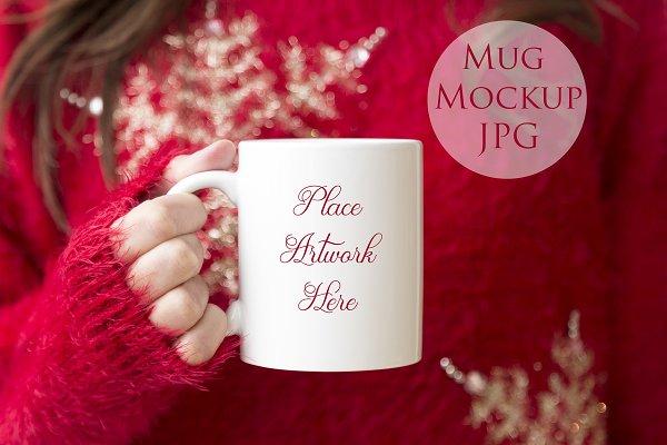 Woman holding mug mockup- Red Jumpe…