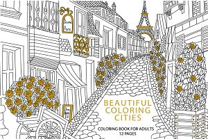 Cities coloring set - 12 pages