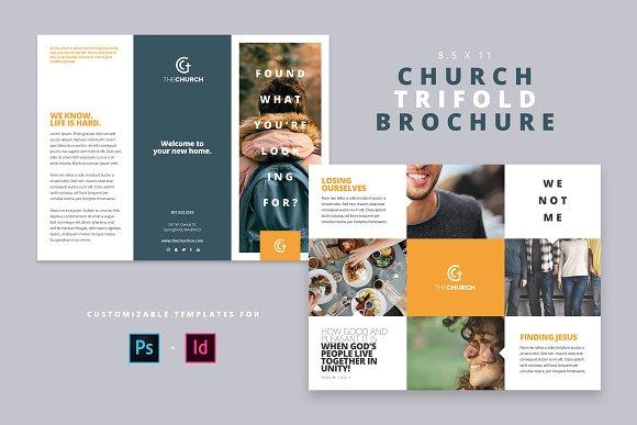 modern church trifold brochure brochure templates creative market