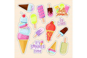 Set of cute ice cream in the form of a retro patches