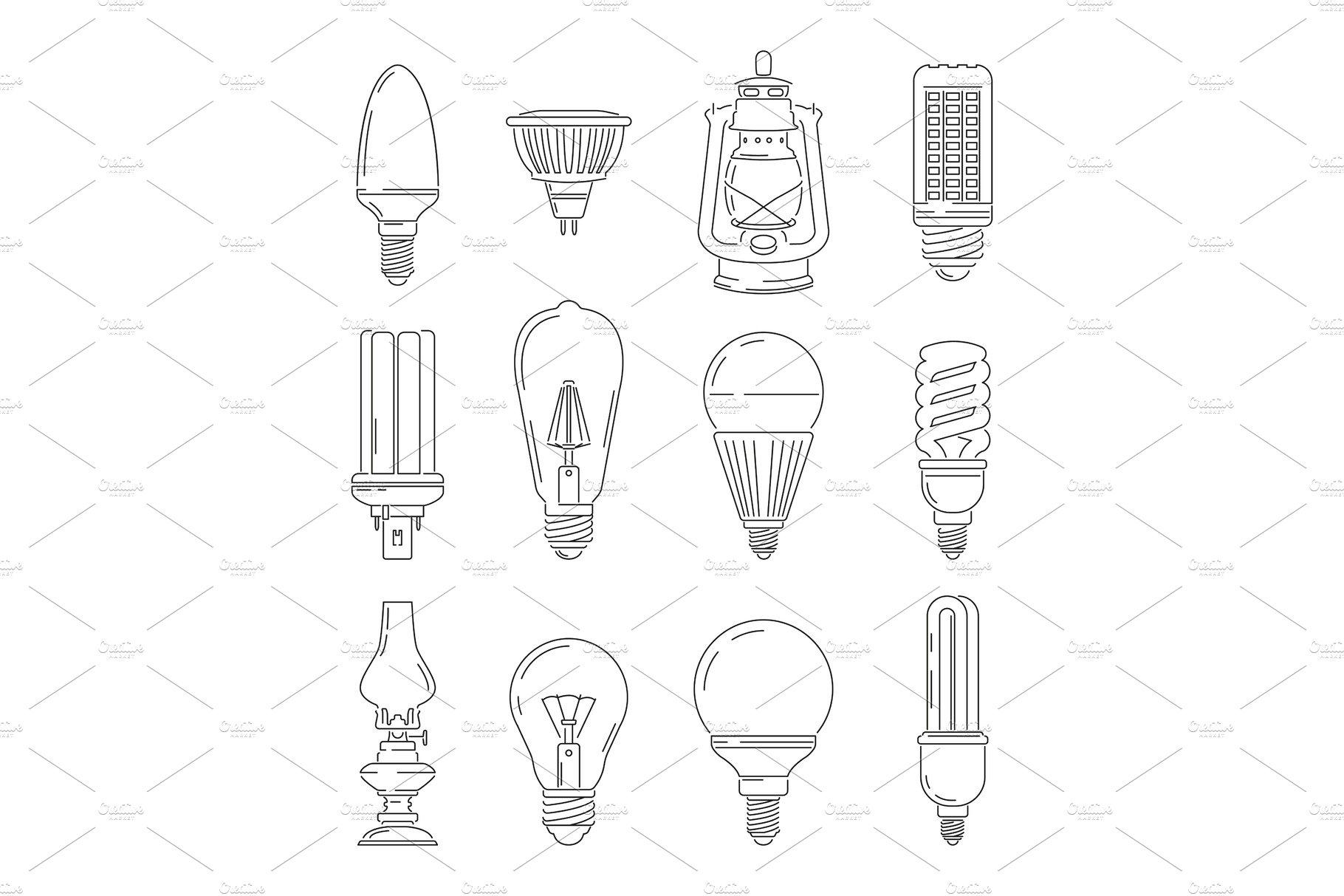 Symbols of light. Different bulbs. Mono line illustrations