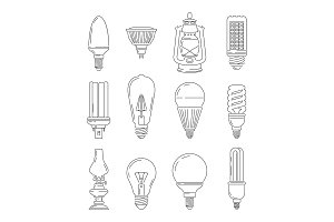 Symbols of light. Different bulbs. Mono line illustrations set