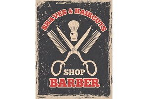 Shopping logo in retro style. Barbershop poster