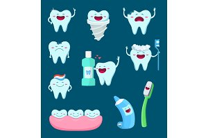 Vector characters set of funny teeth and toothbrush. Cartoon mascot illustrations