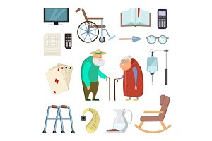 Old couples with different assistants tools for healthy life