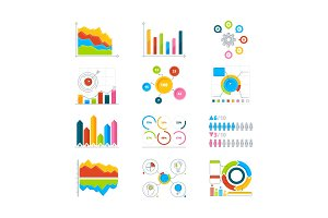 Vector graphics, charts and diagrams. Drawing infographics elements for business