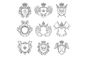 Template of heraldic emblems. Different empty frames for logo or badges design