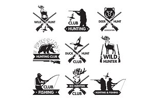 Duck, bear, deer and other animals for hunting. Monochrome labels set with place for your text