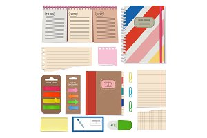Diary, blank papers, notepad and other organizer tools. Vector pictures set isolate