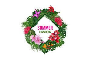 Vector frame with place for text, surrounded with tropical palm leaves and exotic flower