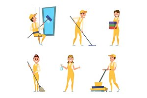 Team workers of cleaning service. Set of different characters in special clothing