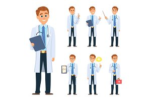 Doctor in different poses. Mascot design in vector style