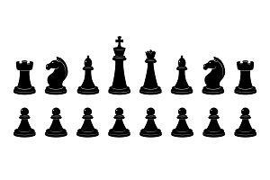 Silhouette of chess. Vector monochrome illustrations isolate