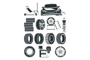 Monochrome illustrations of tires service symbols, wheels and cars
