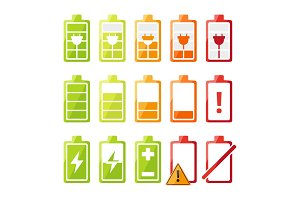 Icon set with different status of battery charger for mobile phone or smartphone