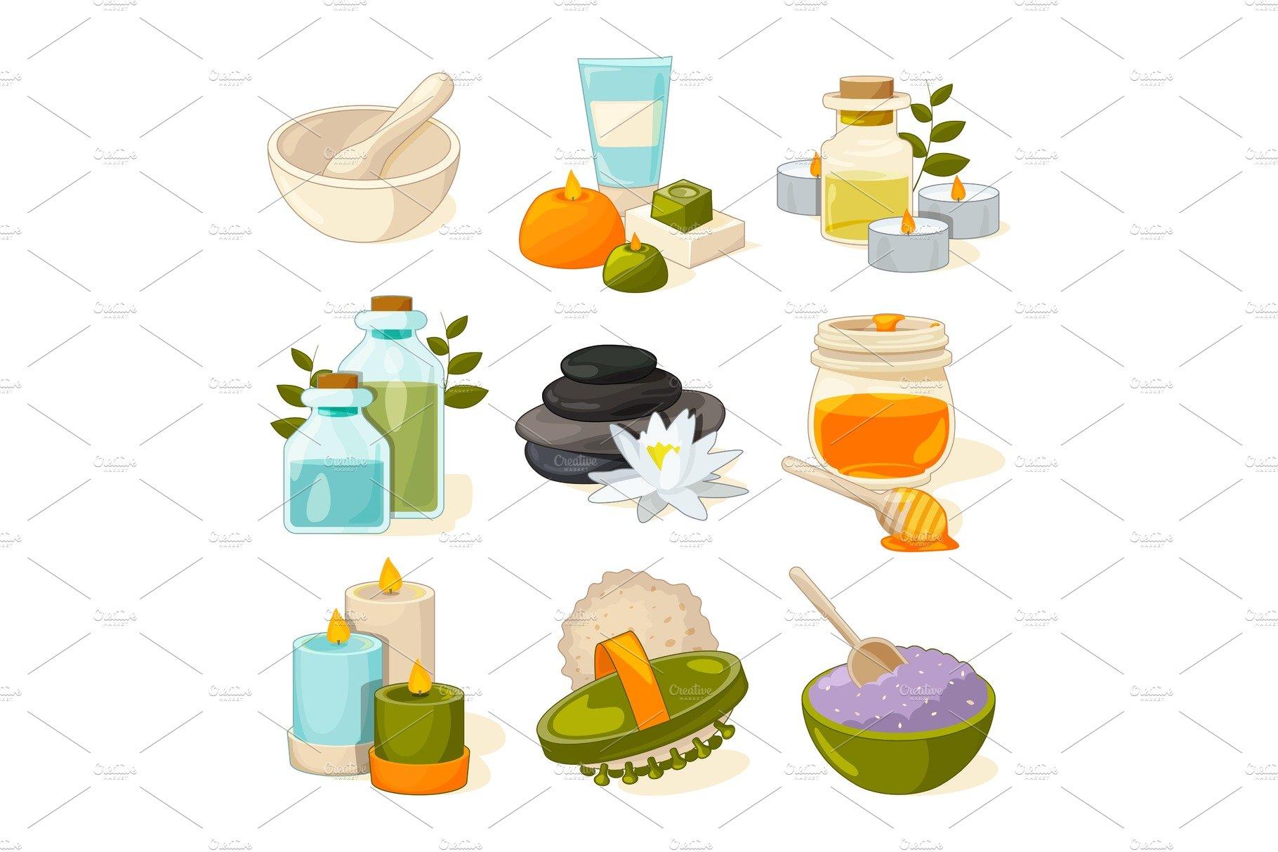 Cartoon Pictures Of Different Symbols Of Spa Or Beauty Salon Pre Designed Illustrator Graphics Creative Market