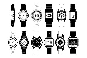 Mechanical and electronic sport hand watches in monochrome style. Vector pictures set isolate on white