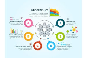 Modern business infographics with radial shapes. Template with graphs, charts and place for your text