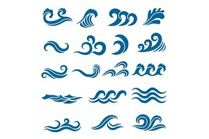 Big set of stylized ocean waves. Colored vector set
