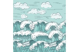 Ocean waves seamless pattern. Hand drawn vector illustrations background
