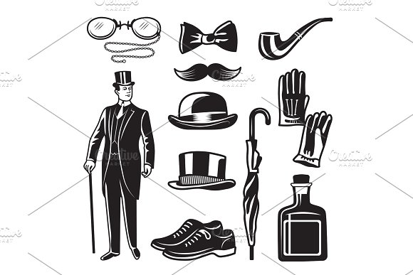 Victorian Style Monochrome Illustrations For Gentleman Club Vector Pictures Set