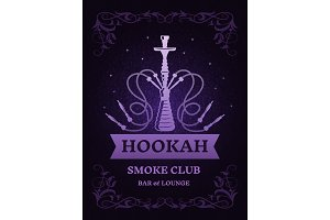 Poster for smoke club with illustration of hookah. Vector template with place for your text