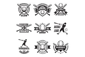 Monochrome labels or emblem for baseball club. Vector badges isolate on white