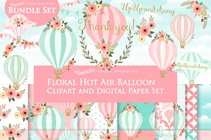 Hot Air Balloon Pink Set
