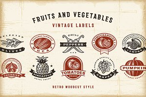 Vintage Fruits And Vegetables Labels