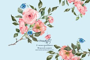 Watercolor Romantic Roses Set