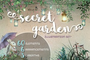 Secret garden illustration set