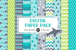 Shark Attack Digital Papers