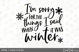 I'm sorry Winter SVG/PNG Graphic