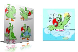 Cartoon Parrot Vector 2