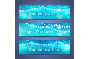 Glowing light garlands banners set