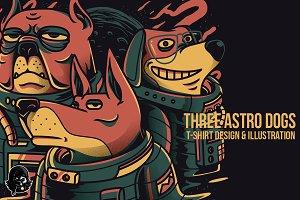 Three Astro Dogs Illustrations