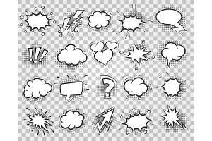 Cartoon sketch speech bubbles set
