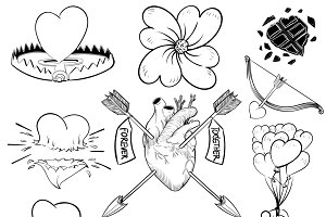 Hand drawn illustration set of love
