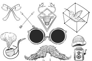 Hand drawing illustration hipster