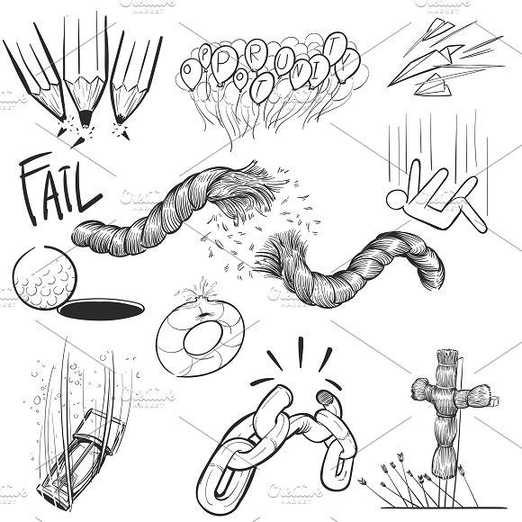 Hand drawing illustration of fail