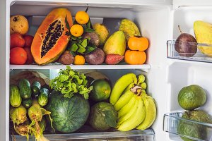 Open Refrigerator Filled With Fresh Fruits And Vegetable, Raw Food Concept, healthy eating concept