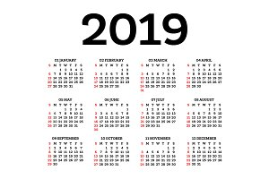 Calendar 2019 Isolated on White