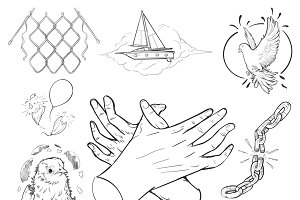 Hand drawing illustration set