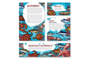 Vector seafood posters of sketch fresh fish