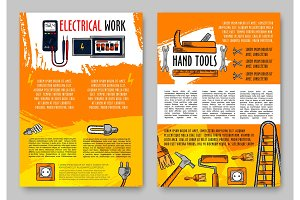 Vector home repair sketch handy work tools poster