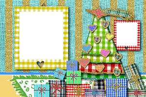 Photo frames Christmas greeting card
